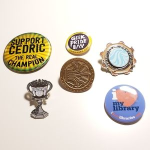 Set of 6 Harry Potter Literary Enamel Pins & Badge